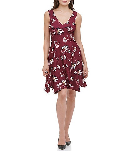 Kensie V-Neck Sleeveless Handkerchief Hem Floral Print Fit & Flare Dress