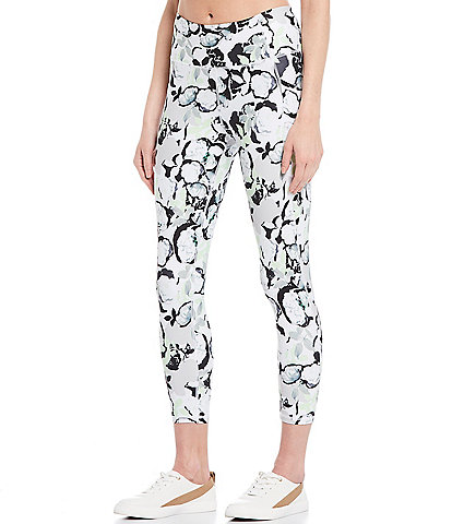 Kinesis Floral Pop Print Mid Rise Moisture Wicking Crop Leggings