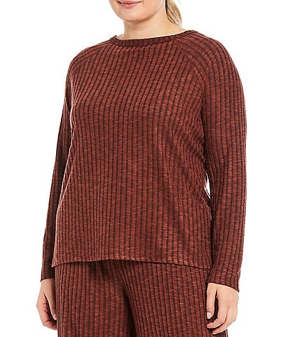 Kinesis Plus Size Ribbed Knit Long Sleeve High-Low Split Side Top