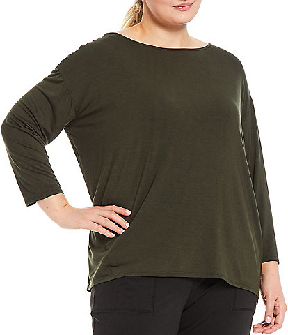 Kinesis Plus Size Solid Boat Neck 3/4 Sleeve High-Low Perfect Tee