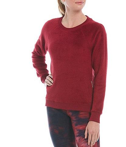 Kinesis Side Zip Brushed Knit Crew Neck Long Sleeve Sweatshirt