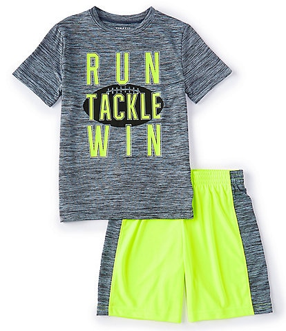 Kinetic by Class Club Little Boys 2T-7 Run Tackle Win Performance Screen Tee and Shorts Set