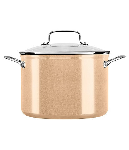KitchenAid Toffee Delight Hard Anodized Nonstick Stockpot with Glass Lid