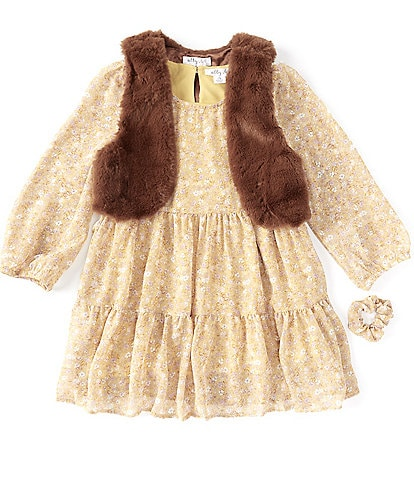 Ally B Big Girls 7-16 Long-Sleeve Floral Tiered Dress, Fur Vest & Scrunchie Set
