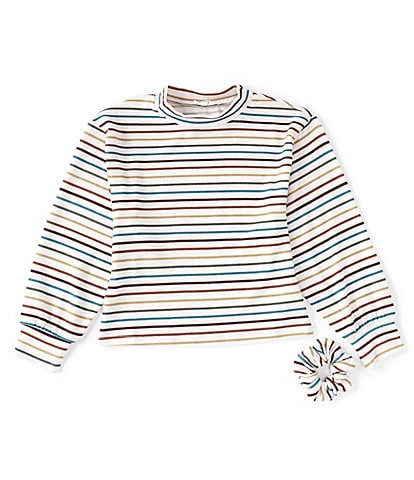 Ally B Big Girls 7-16 Mockneck Striped Sweater & Scrunchie Set