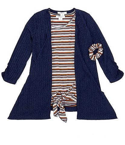 Ally B Big Girls 7-16 Short-Sleeve Stripe Tie-Front Top, Cardigan & Scrunchie Set