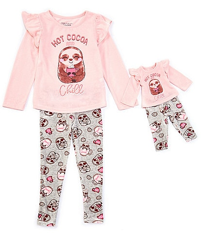 Komar Kids Little/Big Girls 4-14 Hot Cocoa Sloth Two-Piece Pajamas & Doll Pajamas Set