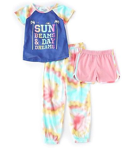 Komar Kids Little/Big Girls 4-14 Sun Beams & Day Dreams Tie-Dye 3-Piece Pajamas Set