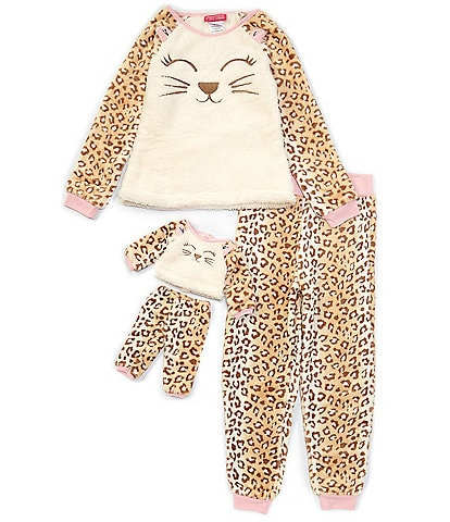 Komar Kids Little/Big Girls 4-16 Hooded Leopard Fleece Two-Piece Pajamas & Doll Pajamas Set