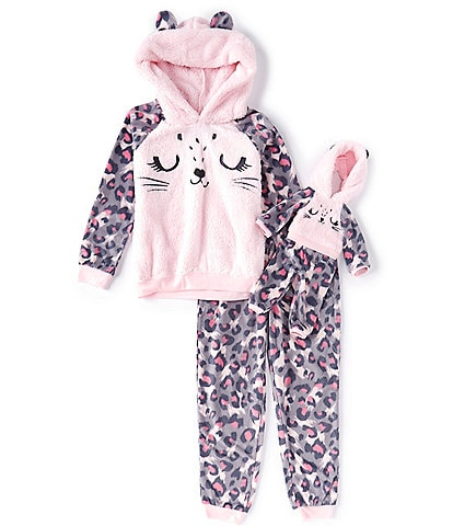 Komar Kids Little/Big Girls 6-16 Cheetah Fleece Two-Piece Pajamas & Doll Pajamas Set