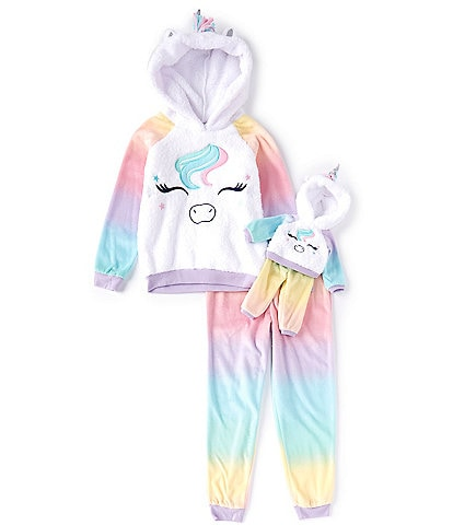 Komar Kids Little/Big Girls 6-16 Ombre Unicorn Fleece Two-Piece Pajamas & Doll Pajamas Set