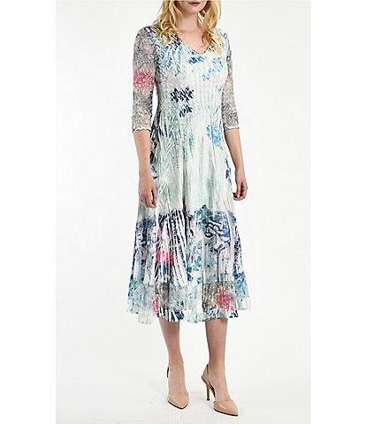 Komarov 3/4 Lace Sleeve Pleated Charmeuse Floral Print A-Line Midi Dress