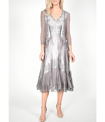 Komarov 3/4 Sleeve Jacket Ombre Lace Detail V-Neck Midi Dress