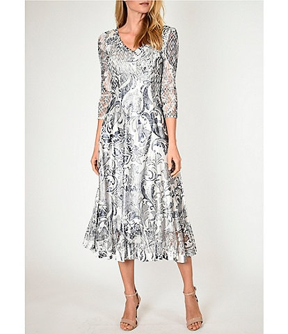 Komarov Antique Brocade Printed 3/4 Sheer Sleeve Midi Dress