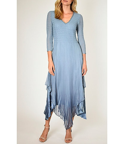 Komarov Beaded V-Neck 3/4 Sleeve Pleated Chiffon Handkerchief Hem Midi Dress