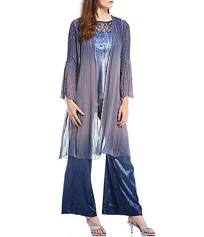 Komarov Duster Ombre Chiffon Charmeuse Lace 3-Piece Pant Set