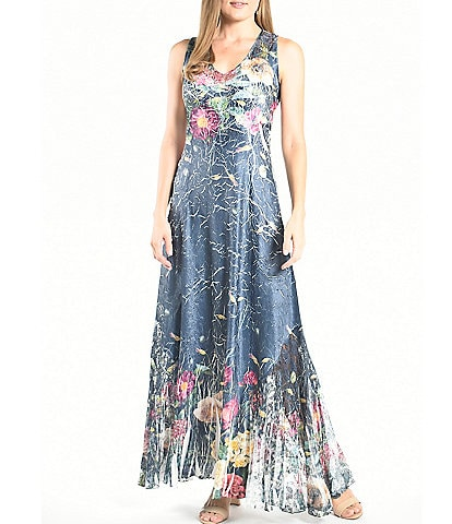 Komarov Floral Printed V-Neck Sleeveless Lace-Up Back A-Line Dress
