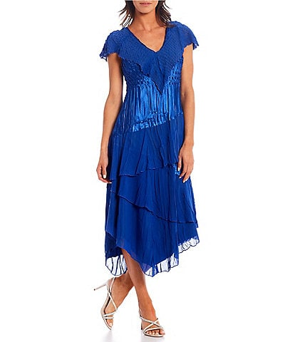Komarov Flutter Sleeve Charmues Tiered Midi Dress