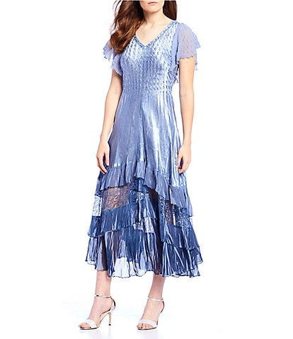Komarov Flutter Sleeve Tiered Pleated Ruffle Hem Ombre A-Line Midi Dress