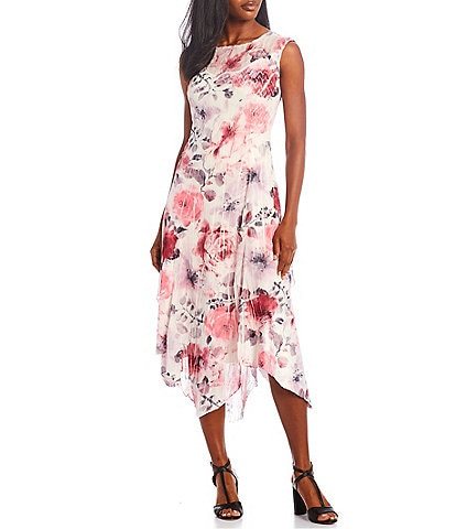 Komarov Jewel Neck Floral Print Charmeuse Midi Dress