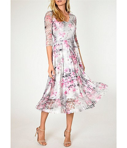 Komarov June Bloom Printed V-Neck 3/4 Sheer Sleeve Midi Dress