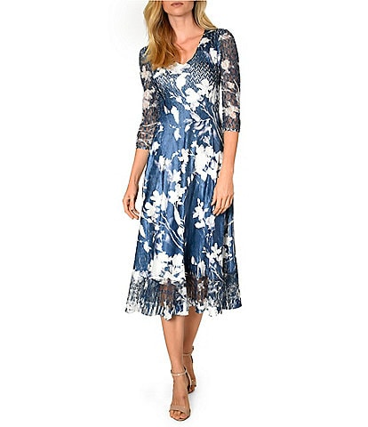 Komarov Lace Sleeve Midnight Vine Floral Charmeuse Midi Dress