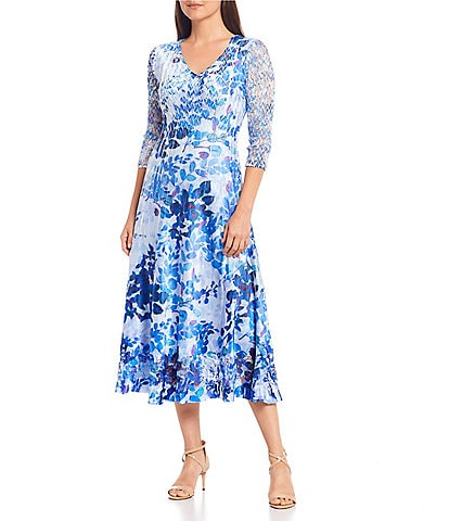 Komarov 3/4 Lace Sleeves Pleated Charmeuse Floral Print A-Line Midi Dress