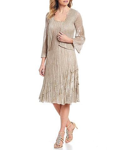 Komarov Metallic Pleated Midi Jacket Dress