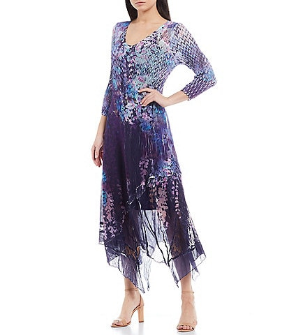 Komarov Mixed Print 3/4 Sleeve V-Neck Asymmetric Hem Midi Dress