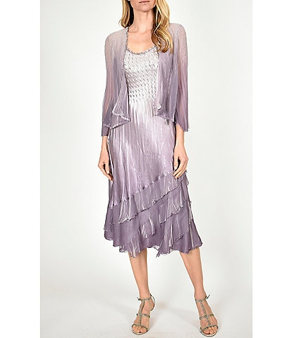 Komarov Ombre Chiffon Satin Charmeuse Crinkle Jacket Dress