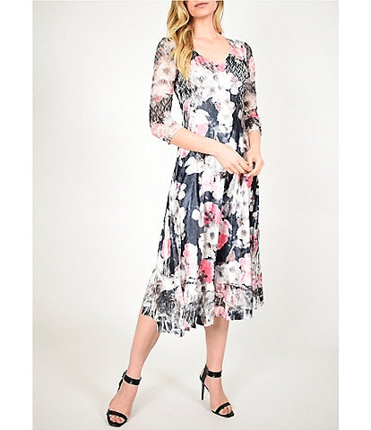 Komarov Primrose Floral Printed V-Neck 3/4 Sheer Sleeve Midi Dress