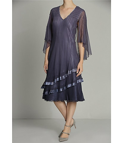 Komarov Tiered Chiffon V-Neck Capelet Midi Dress