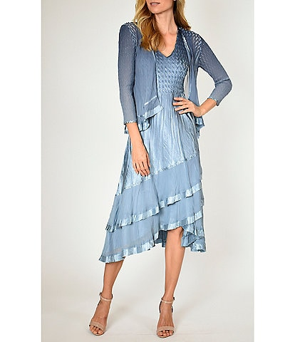 Komarov Two-Piece Chiffon Jacket Charmeuse Tiered Pleated Midi Dress