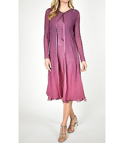 Komarov Two Piece Gradient Ombre Chiffon Duster Midi Dress
