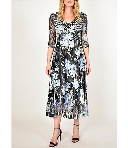 Komarov V-Neck 3/4 Sleeve A-Line Floral Print Midi Dress