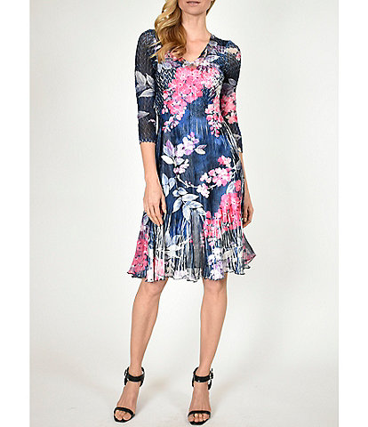 Komarov V-Neck 3/4 Sleeve Printed Charmeuse Dress