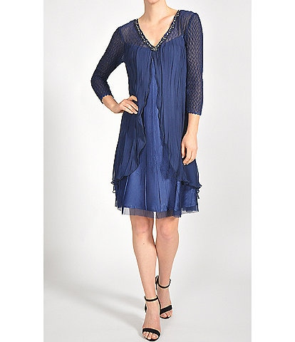 Komarov V-Neck Chiffon Flyaway 3/4 Sleeve Dress