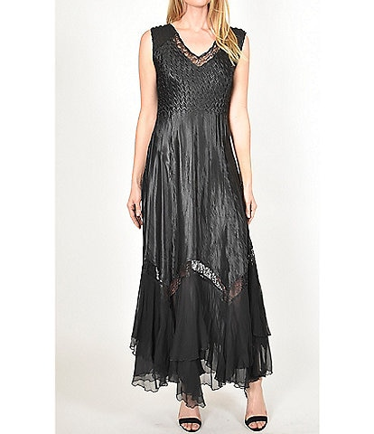 Komarov Pleated V-Neck Sleeveless Lace Insert Detail Charmeuse Gown