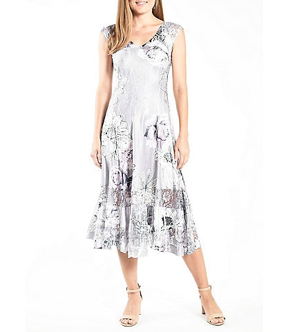 Komarov V-Neck Sleeveless Floral Print Charmeuse Midi Dress