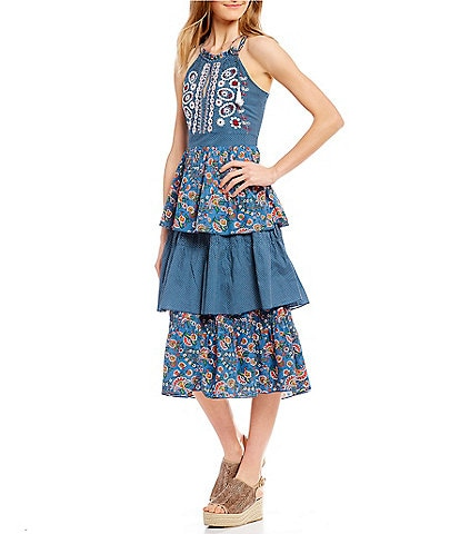 Kopal Izzy Foliage Floral Print and Dot Print Halter Neck Tiered Midi Dress