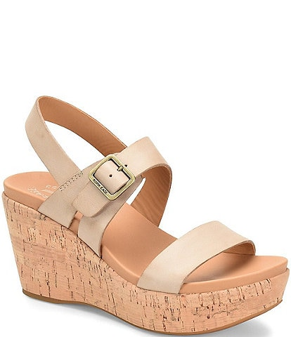 Kork-Ease Aimeho Leather Cork Wedge Platform Sandals