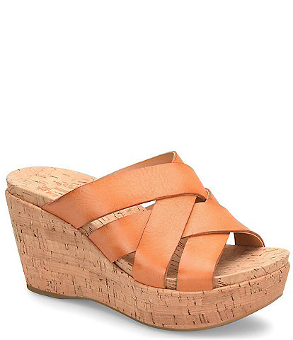 Kork-Ease Aria Woven Leather Cork Wedge Slide Sandals
