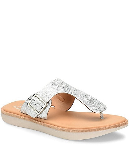 Kork-Ease Belmont Metallic Leather Thong Slide Sandals