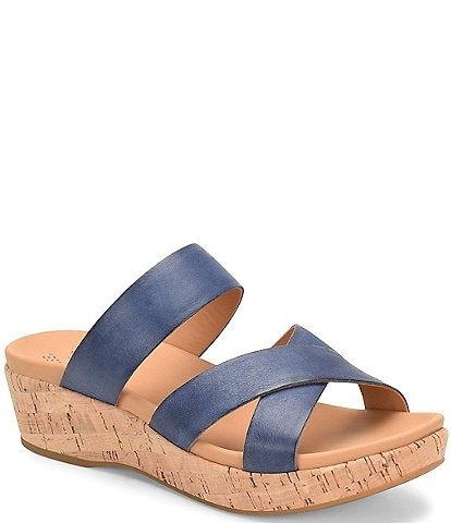 Kork-Ease Camellia Leather Cork Wedge Slides