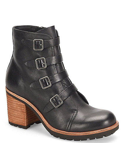 Kork-Ease Dee Buckled Strap Detail Leather Block Heel Booties