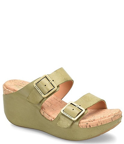 Kork-Ease Grace Leather Buckle Strap Platform Wedge Slide Sandals