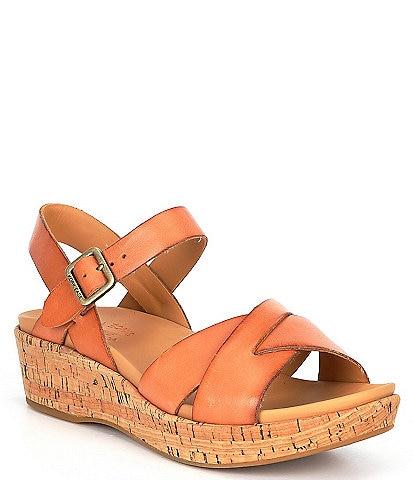 Kork-Ease Myrna Ankle Strap Banded Leather & Cork Wedge Sandals