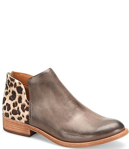 Kork-Ease Renny Giraffe Print Calf Hair Leather Block Heel Ankle Booties