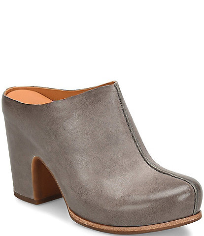 Kork-Ease Sagano Leather Block Heel Mules