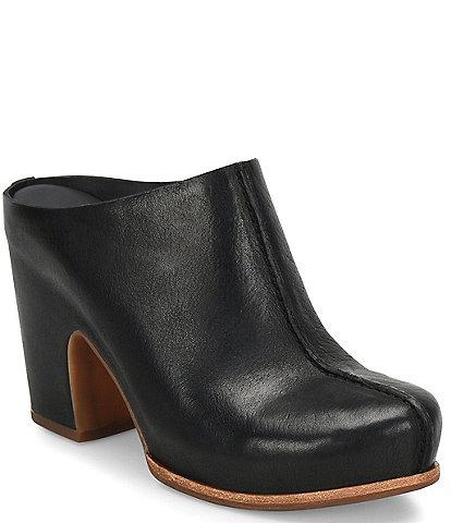 Kork-Ease Sagano Leather Block Heel Mules